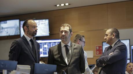 Edouard Philippe, Christophe Castaner et Laurent Nunez en visite à la DOPC le 23 mars 2019 à Paris (image d'illustration).