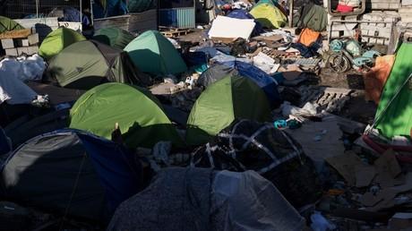 Un cliché pris le 24mars 2020 dans le camp de migrants d'Aubervilliers (Seine-Saint-Denis) après son évacuation par les forces de l'ordre (image d'illustration).