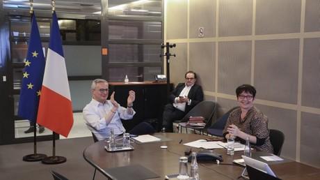 Bruno Le Maire lors d'une réunion des ministres des finances de l'UE par visioconférence, à Paris, le 9 avril 2020 (image d'illustration).
