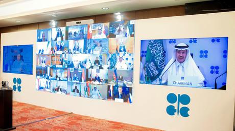 Le ministre saoudien de l'Energie en visioconférence avec les principaux pays producteurs de pétrole, le 9 avril à Riyad (image d'illustration).