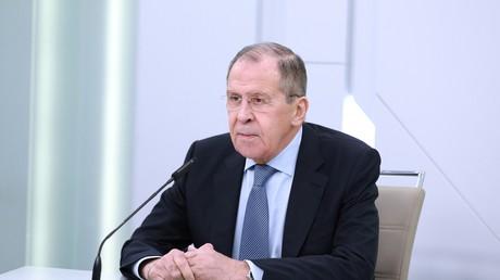Serguei Lavrov lors de sa visioconférence avec les journalistes, le 14 avril 2020