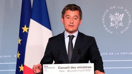 Le ministre du Budget, Gerald Darmanin, participe à une conférence de presse à Paris, le 15 avril 2020 (image d'illustration).