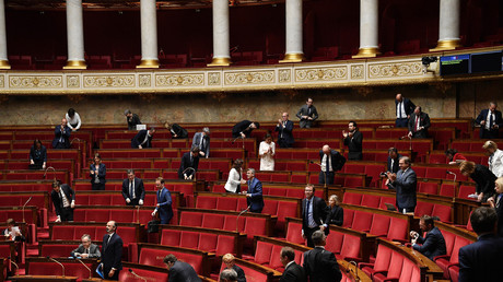 L'hémicycle de l'Assemblée nationale, le 28 avril 2020.