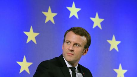 Emmanuel Macron, président de la République française, devant un drapeau européen, en octobre 2017 (image d'illustration).