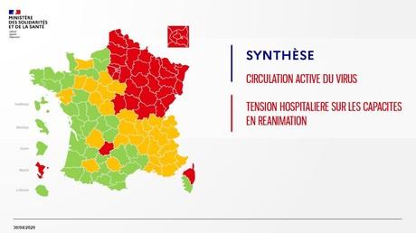 La première version de la carte du déconfinement dévoilée par le ministre de la Santé Olivier Véran le 30 avril.