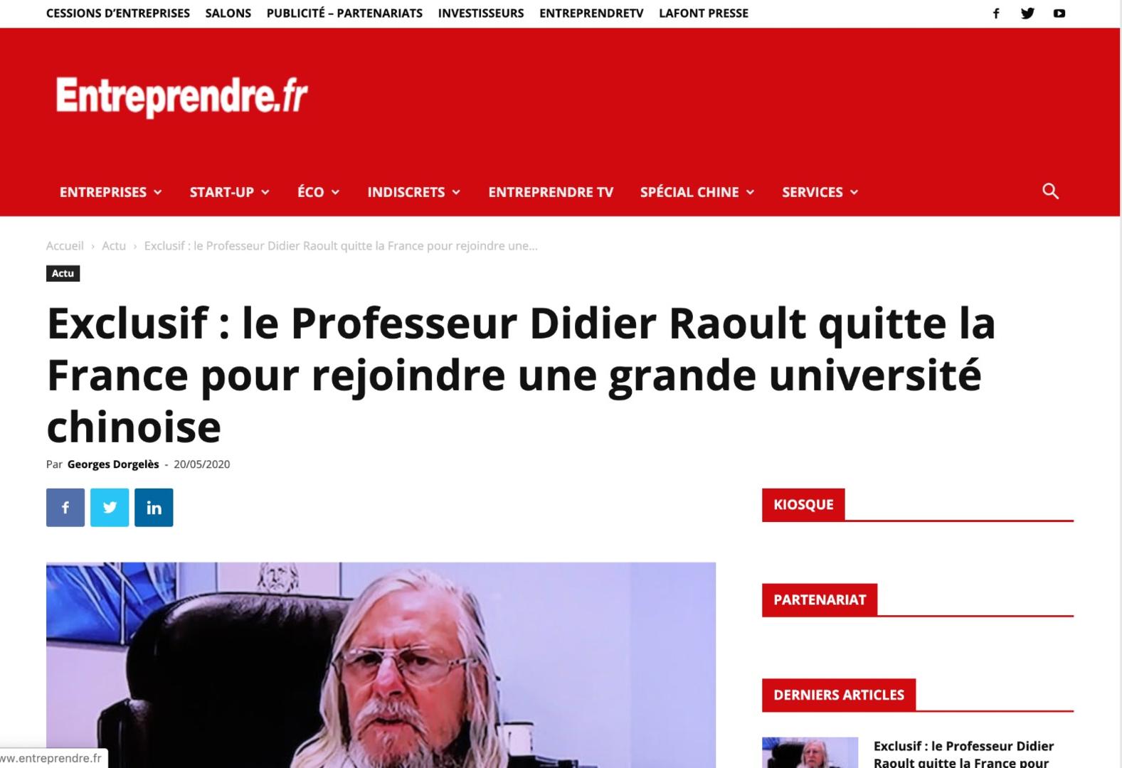 Didier Raoult quitte-t-il la France pour rejoindre une université chinoise ? Son assistant dément