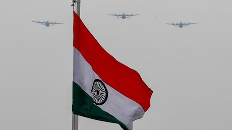 Un drapeau indien sur le boulevard cérémonial de Rajpath, à New Dehli (Inde), le 3mai 2020 (image d'illustration).
