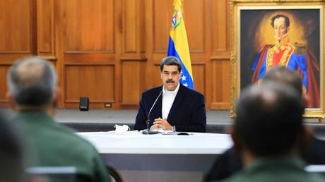 Le président vénézuélien, Nicolas Maduro, le 4 mai 2020 au palais de Miraflores, à Caracas, au Venezuela.
