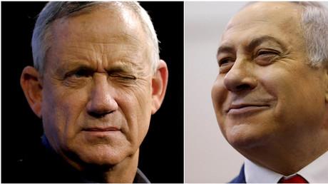 Benny Gantz (à gauche), chef du parti bleu et blanc, lors d'une réunion électorale à Ashkelon, Israël, le 3 avril 2019, et le Premier ministre israélien Benjamin Netanyahu (à droite) à Jérusalem, le 9 avril 2019.