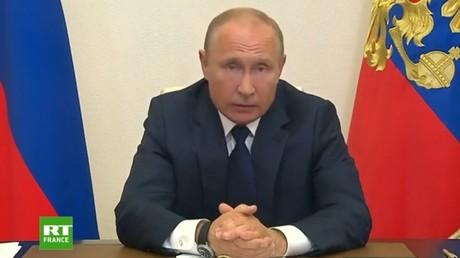 Vladimir Poutine s'adresse à la nation russe au sujet de la gestion de la pandémie de Covid-19, ce 11 mai.