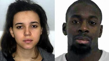 Un photomontage d'Hayat Boumeddiene et Amédy Coulibaly diffusé le 9 janvier 2015 par la police française (image d'illustration).