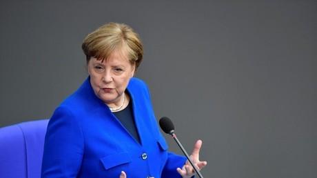 La chancelière allemande Angela Merkel au Bundestag, la chambre basse du Parlement, le 13 mai 2020 à Berlin.