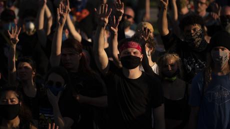 Manifestation à Saint-Paul, dans l'Etat du Minnesota, en faveur de l'arrestation de quatre agents de police américains ayant contribué à l'interpellation de George Floyd (image d'illustration).