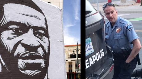 A gauche dessin de George Floyd, à droite le policier Derek Chauvin lors de l'interpellation tragique de George Floyd.