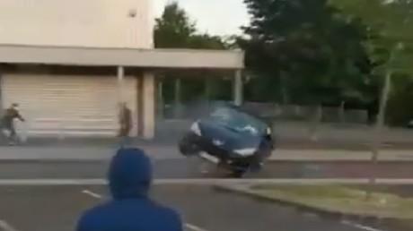 Embardée d'un véhicule dans le quartier des Grésilles à Dijon.