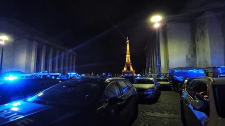 Les policiers se rassemblent sur la place du Trocadéro à Paris le 14 juin, (source policière).