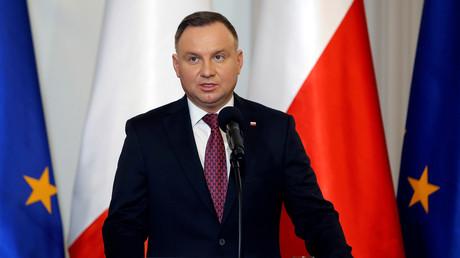 Le président polonais Andrzej Duda s'exprime à Varsovie à l'occasion d'une rencontre avec Emmanuel Macron le 3 février 2020.