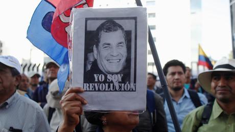 Manifestation des partisans de l'ancien président équatorien Rafael Correa devant la Cour suprême, à Quito, Équateur, le 7 novembre 2018. (Image d'illustration)