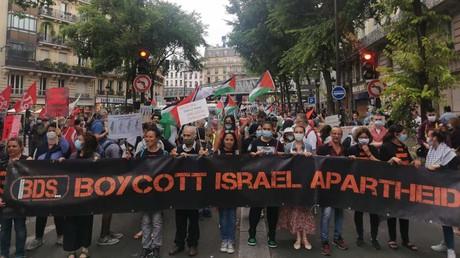 Manifestation pour la Palestine et contre le projet d'annexion de la Cisjordanie, le 27 juin 2020, à Paris.