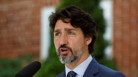 Le Premier ministre canadien, Justin Trudeau, lors d'une conférence de presse le 22 juin 2020 à Rideau Cottage, à Ottawa (Ontario), Canada.