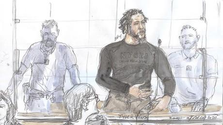 Un dessin du djihadiste Tyler Vilus au tribunal, le 25 juin 2020.
