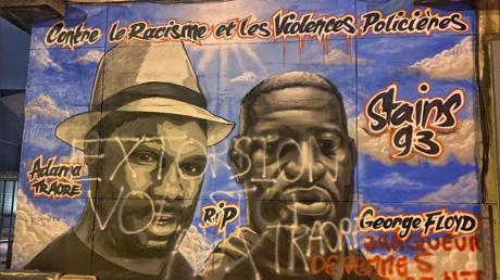 A Stains, la fresque en hommage à George Floyd et Adama Traoré a été taguée.