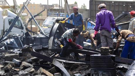 Décombres à Sanaa, au Yémen, en juillet 2020 après une frappe de la coalition menée par l'Arabie saoudite (image d'illustration).