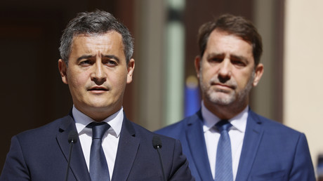 Passation de pouvoir à Beauvau entre Christophe Castaner et Gérald Darmanin, le 7 juillet 2020, à Paris.