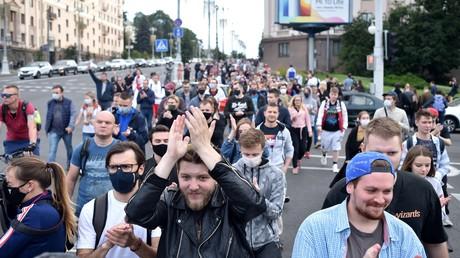Des manifestants se rassemblent à Minsk (Biélorussie) le 14 juillet 2020 (image d'illustration).