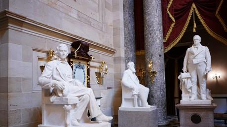 Une statue d'Alexander Hamilton Stephens, vice-président des Etats confédérés, dans le Statuary Hall du Capitole américain à Washington D.C., Etats-Unis.