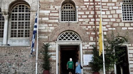 Les églises de toute la Grèce étaient en «deuil» le 24 juillet 2020 en réaction à la conversion de Sainte Sophie d'Istanbul en mosquée. Thessalonique, Grèce.