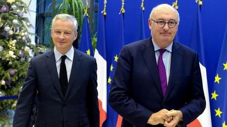 Le ministre français de l'Economie Bruno Le Maire et le commissaire européen au Commerce Phil Hogan demandent à Washington de lever ses sanctions contre les produits européens