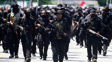 Militants noirs de la milice NFAC lors d'un rassemblement à Louisville, Kentucky, Etats-Unis, le 25 juillet 2020 (image d'illustration).