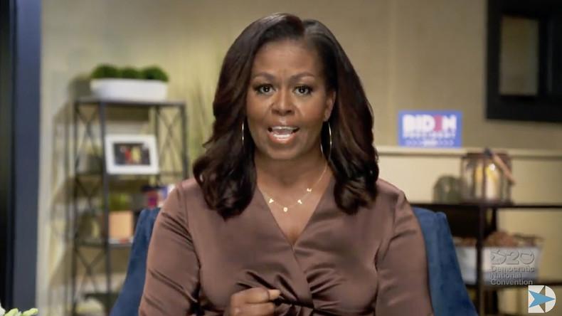 Michelle Obama durant une intervention à l'occasion de la convention nationale du Parti démocrate le 17 août 2020 (Image d'illustration).