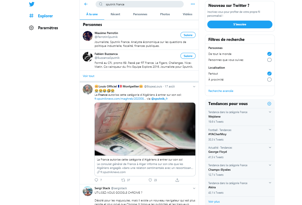 RT France disparaît mystérieusement de la barre de recherche de Twitter