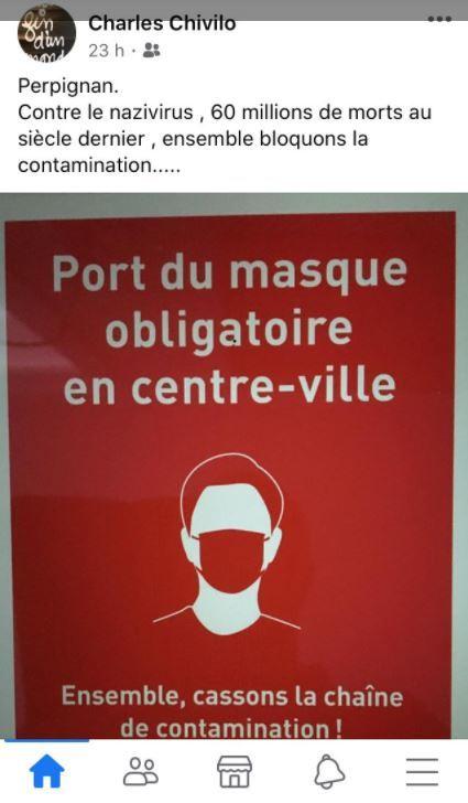 «Nazivirus» : un élu compare le port du masque obligatoire à Perpignan au nazisme