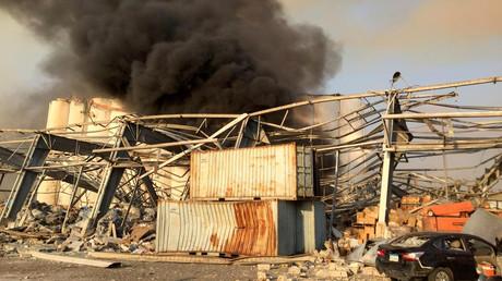 Débris laissés par deux importantes explosions à Beyrouth ce 4 août.