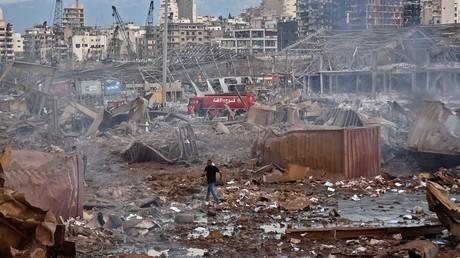 Paysage dévasté après la double explosion du 4 août 2020 dans le port de Beyrouth.