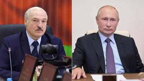 Montage photo : à gauche, le président biélorusse Alexandre Loukachenko : à droite : son homologue russe Vladimir Poutine.