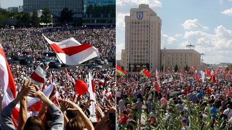 Manifestation d'opposants (à gauche) et de partisans d'Alexandre Loukachenko (à droite), le 16 août à Minsk.