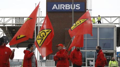 Syndicalistes de IG Metall protestant contre un plan social à Airbus le 8 juillet 2020. (Image d'illustration)