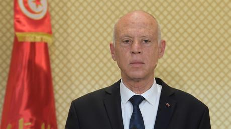 Le président tunisien Kaïs Saïed prend la parole lors d'une conférence de presse conjointe avec son homologue turc au palais présidentiel de Carthage, à l'est de la capitale Tunis, le 25 décembre 2019 (image d'illustration).