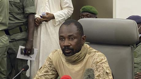 Le colonel Assimi Goita lors de son intervention à la presse le 19 août 2020 à Bamako.