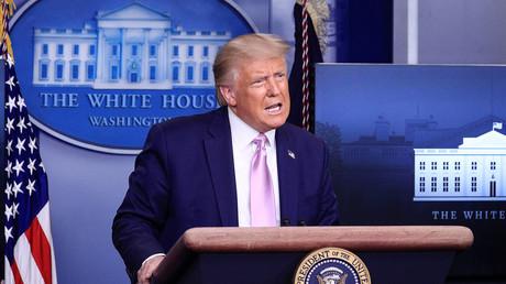Le président américain Donald Trump prend la parole lors d'une conférence de presse dans la salle de conférence de presse Brady à la Maison Blanche à Washington, Etats-Unis, le 19 août 2020.