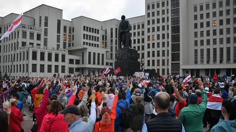 Des manifestants contestant les résultats de la dernière élection présidentielle en Biélorussie, au square de l'Indépendance à Minsk, le 19 août (image d'illustration).