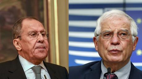 A gauche, Sergueï Lavrov ; à droite, Josep Borrell. Les deux diplomates s'inquiètent d'un scénario à l'ukrainienne en Biélorussie... Avec des perspectives différentes.