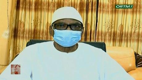 Ibrahim Boubacar Keïta annonce sa démission de la présidence aux Maliens le 18 août 2020 à la télévision (image d'illustration).
