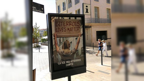 La campagne d'affichage photographiée dans la ville de Béziers, dans l'Hérault.