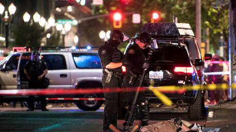 Le corps d'un homme, tué par balle en marge des différentes manifestations qui ont eu lieu à Portland (Oregon), le 29 août.