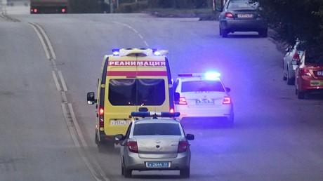 Une ambulance transportant Alexeï Navalny à Omsk, 22 août 2020